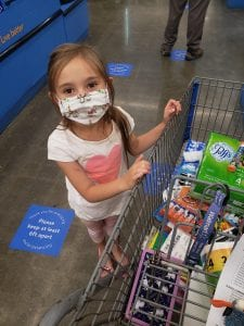 school supply shopping with a mask on