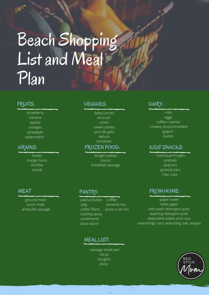 beach packing list and meal plan