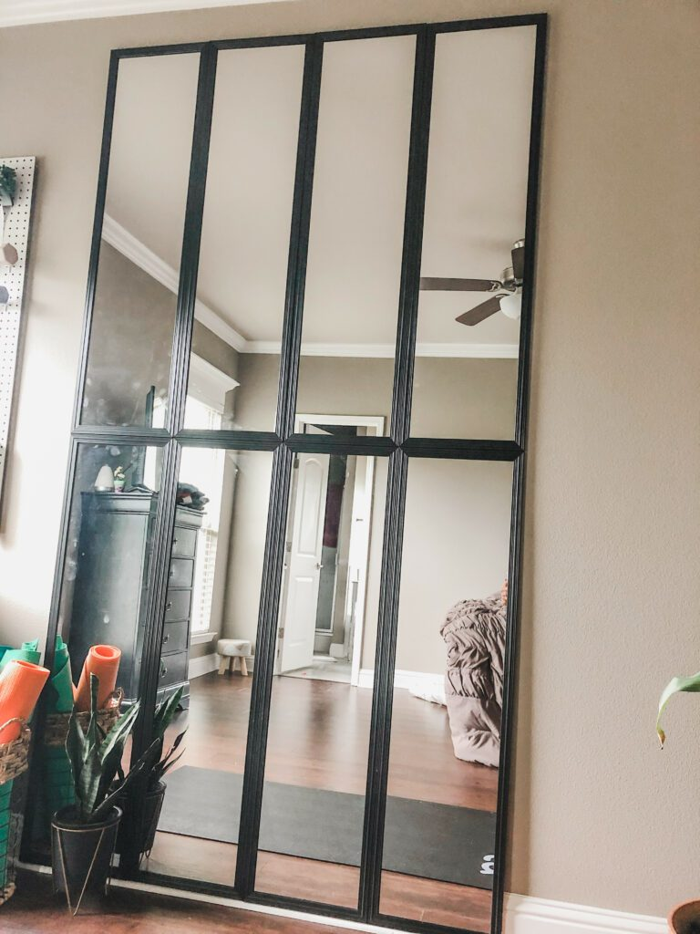 floor to ceiling mirrors in home workout space